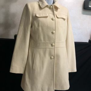 Anne Klein Ivory Wool Coat